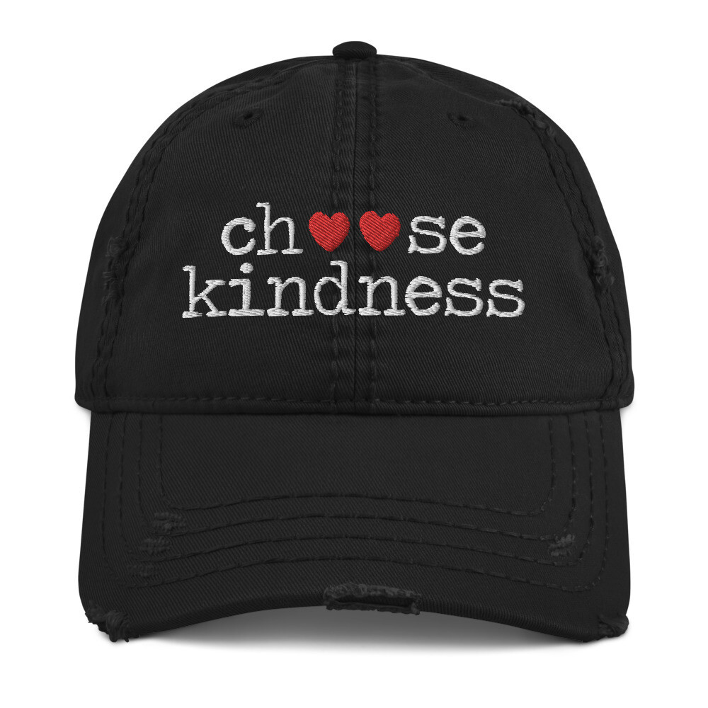 """""""Choose Kindness"""" Red Hearts Distressed Hat"""