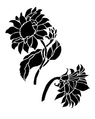 Sunflower Duo stencil