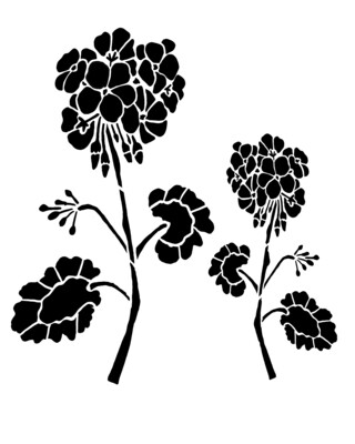 Geraniums stencil