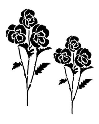 Pansy Flower stencil