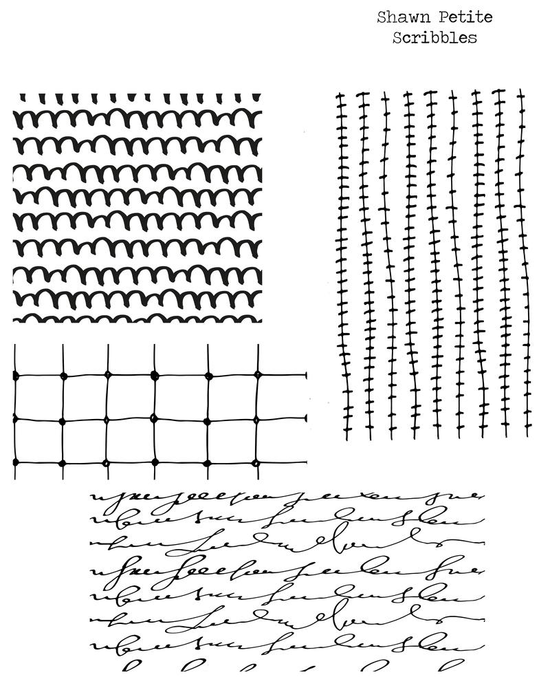 Scribbles stencil 8x10