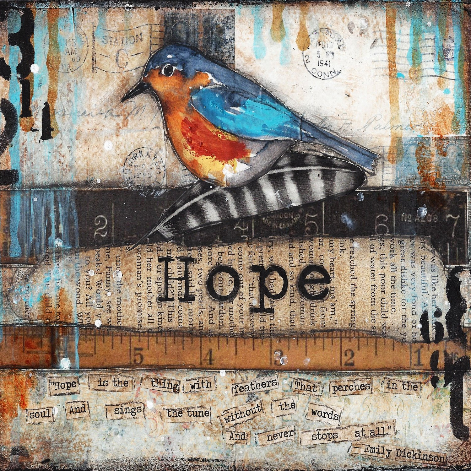 Hope Bird with Ruler print on wood