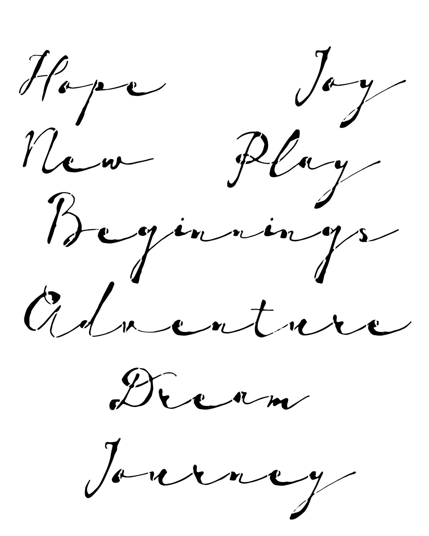 Vintage script stencil