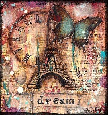 Dream eiffel tower print on wood