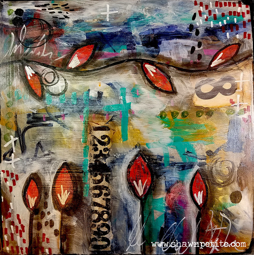 Free spirit mixed media original 12x12 original