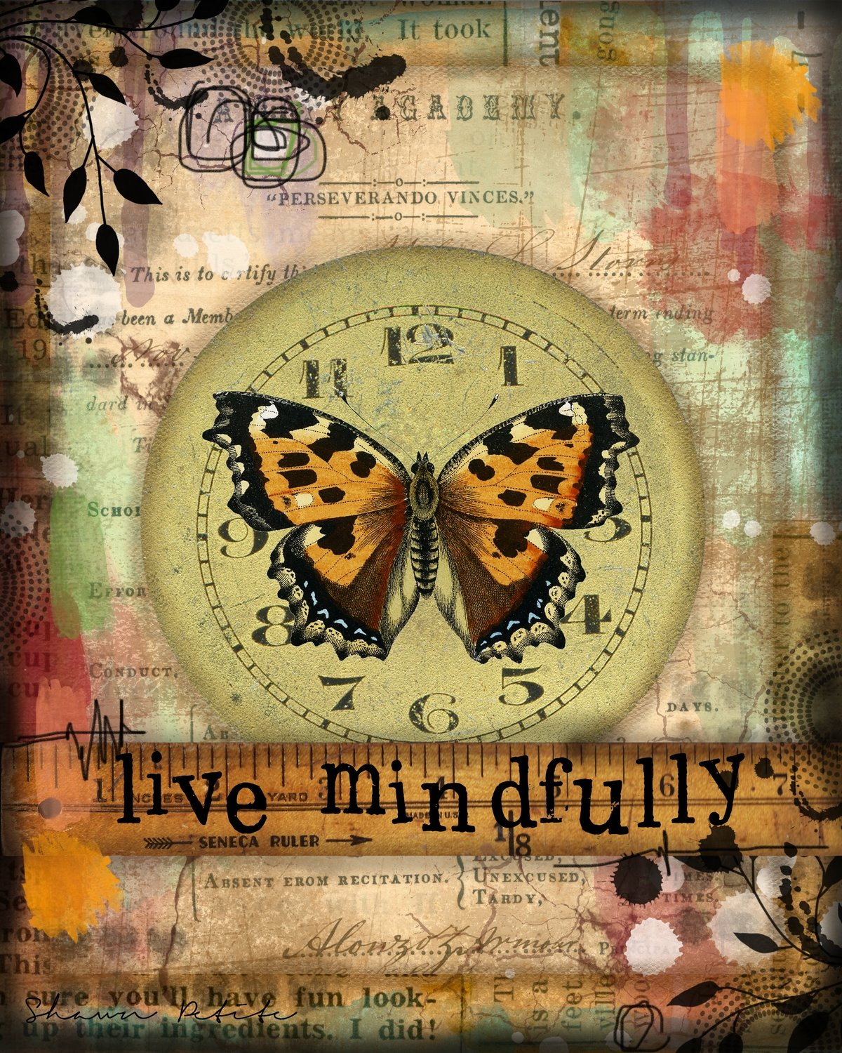 Live Mindfully butterfly series print on wood