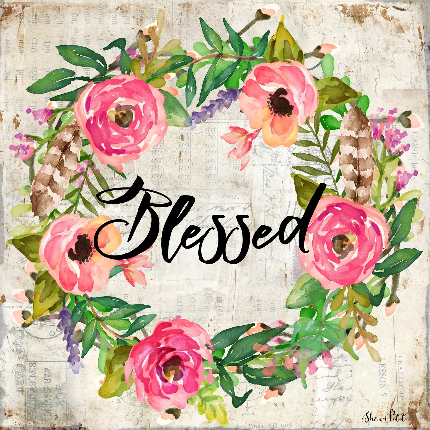 Blessed floral watercolor wreath print of the original on wood
