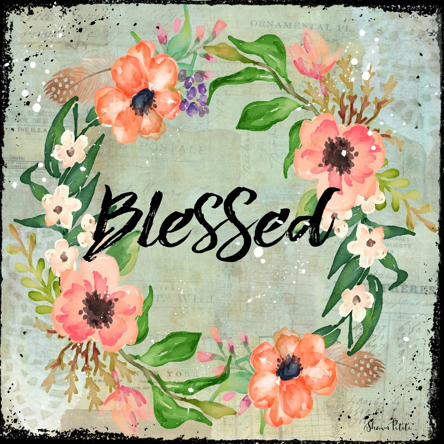 """Blessed"" floral wreath Print on Wood and Print to be Framed"