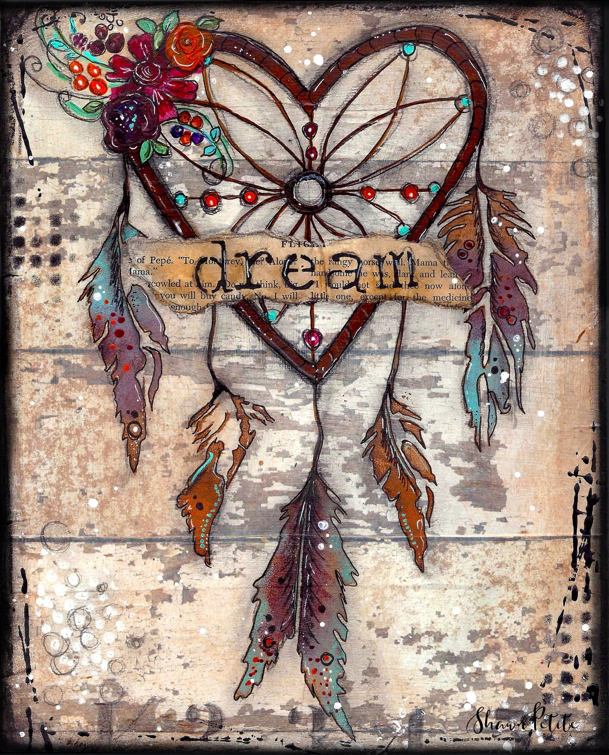 """Dream"" dream-catcher Print on Wood and Print to be Framed"