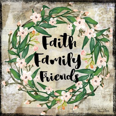 faith family friend wreath on light background print of original on wood