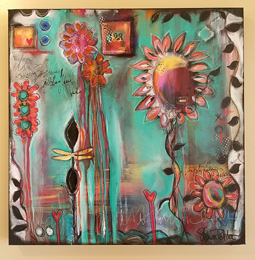 """Wish 24x24 mixed media Original on gallery depth canvas"