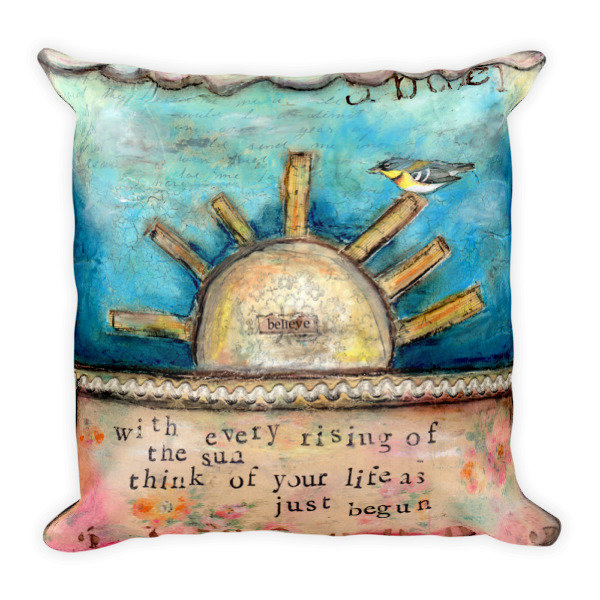 Rising sun decorative pillow