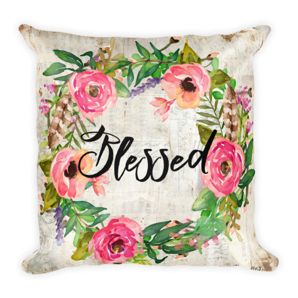 Blessed Wreath light vintage paper backgroun Square Pillow