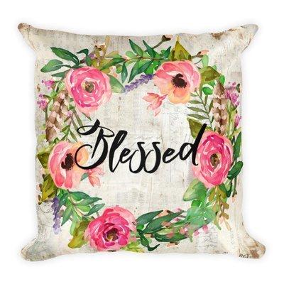 Blessed Wreath light vintage paper backgroun Square Pillow
