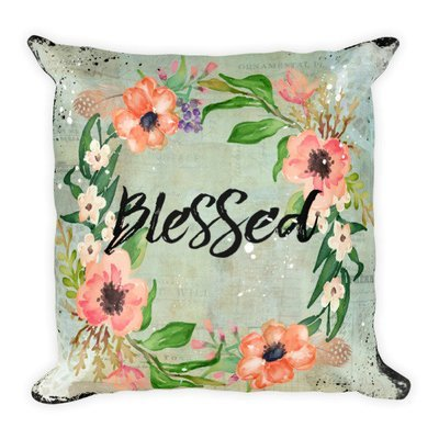 Blessed wreath light turquoise vintage paper background Square Pillow
