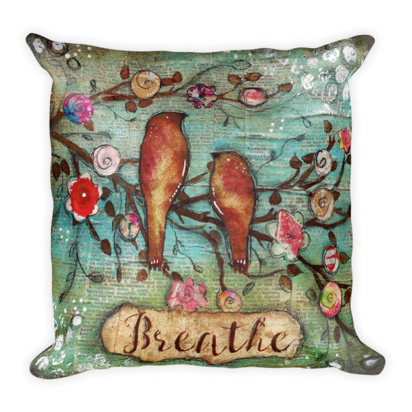 Breathe Bird Square Pillow