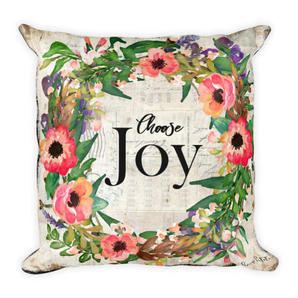 Choose Joy wreath light vintage paper backgroundSquare Pillow