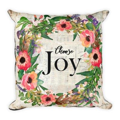 Choose Joy wreath light vintage paper backgroundSquare Pillow