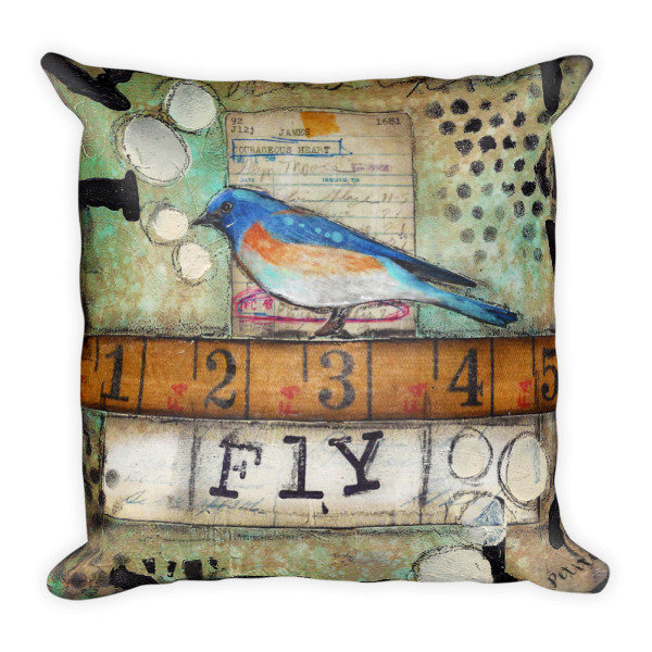 Fly Bird Ruler Square Pillow