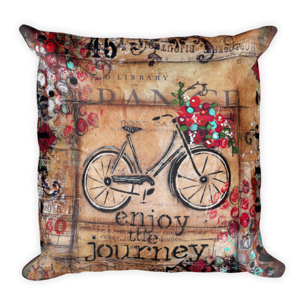 Enjoy the journey bike Square Pillow