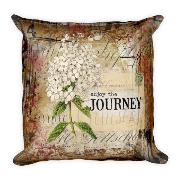 Enjoy the journey hydrangea Square Pillow