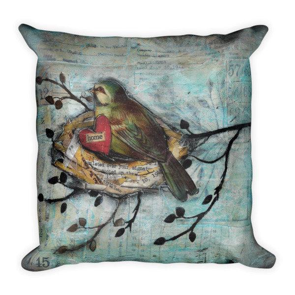 Home bird Square Pillow