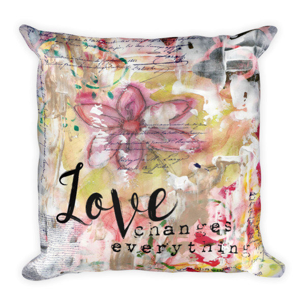 Love changes everything light flower Square Pillow