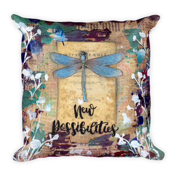 New possibilities dragon fly Square Pillow