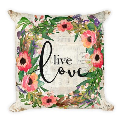 Live love wreath Square Pillow