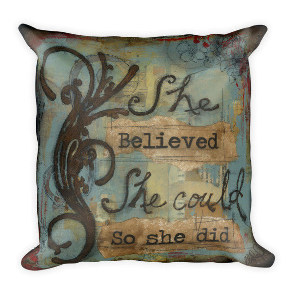 She believed blue Square Pillow
