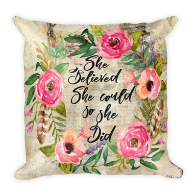 She believed wreath Square Pillow