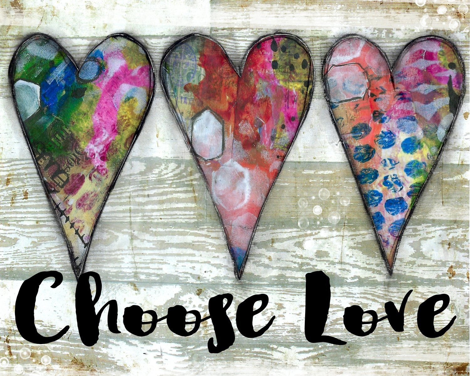 """""""Choose Love"""" hearts Print on Wood and Print to be Framed"""