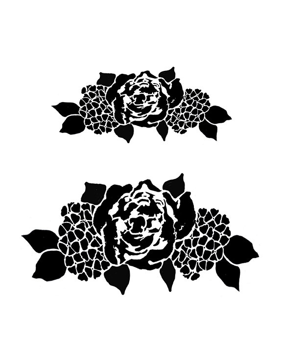 Flower spray stencil