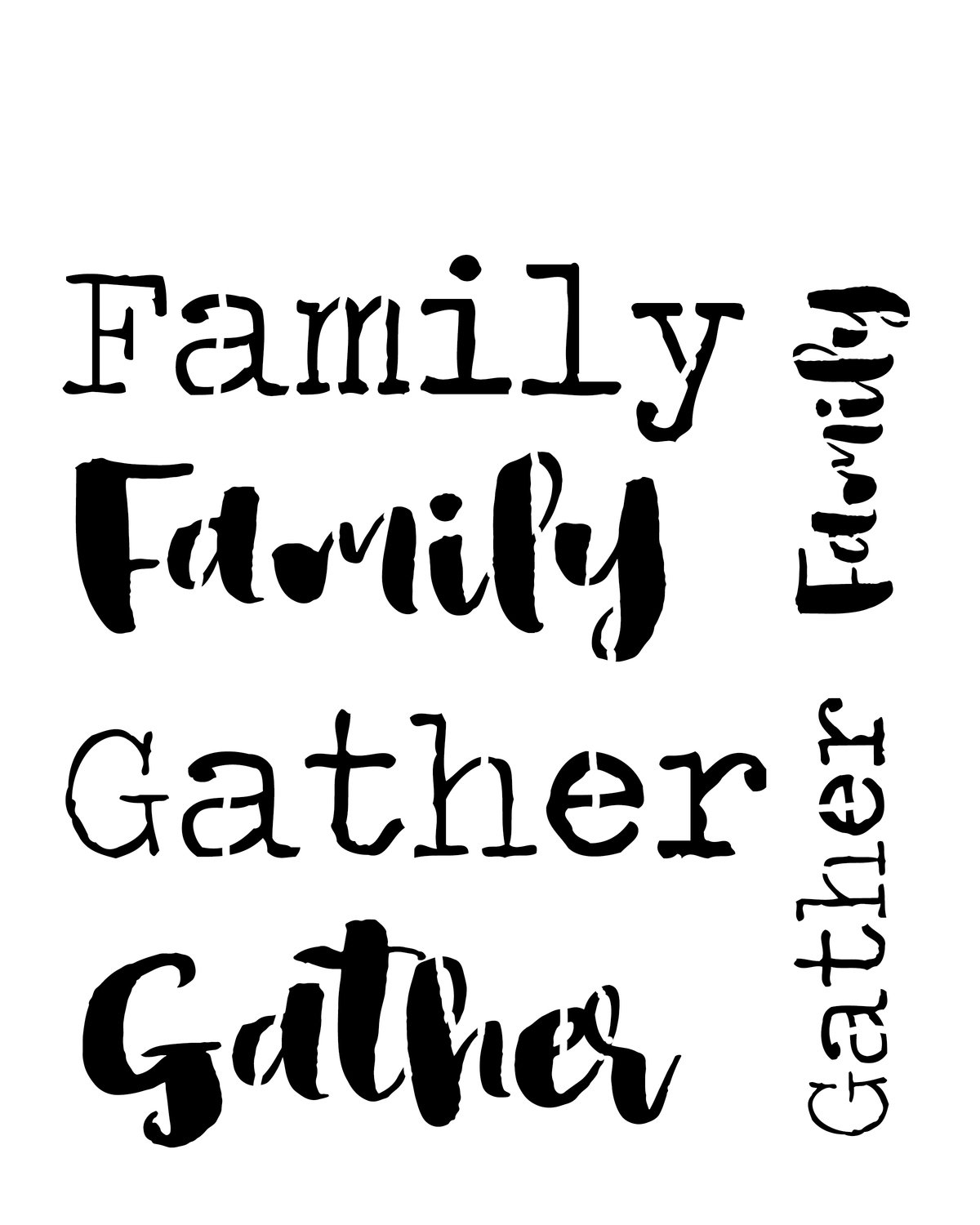 Gather family words stencil