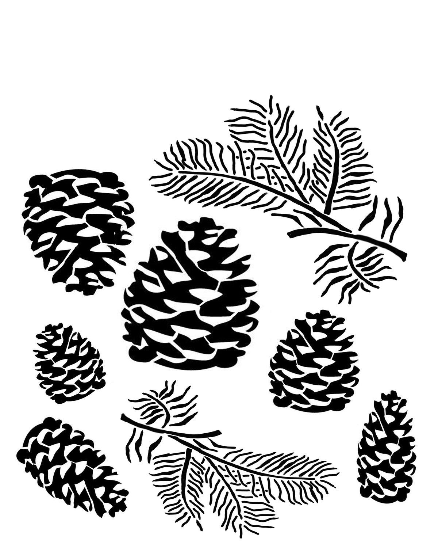Pine cones 8x10 stencil