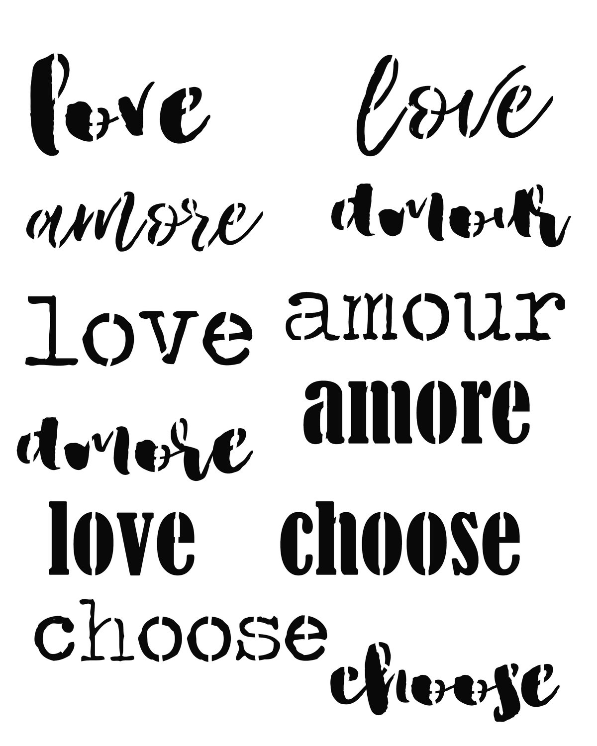 Words of love 8x10 stencil