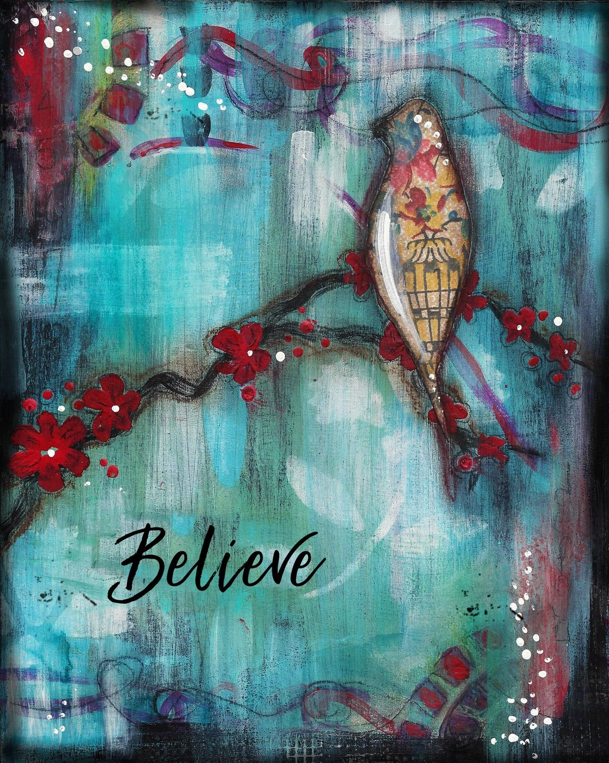 """Believe"" bird print of original on wood"