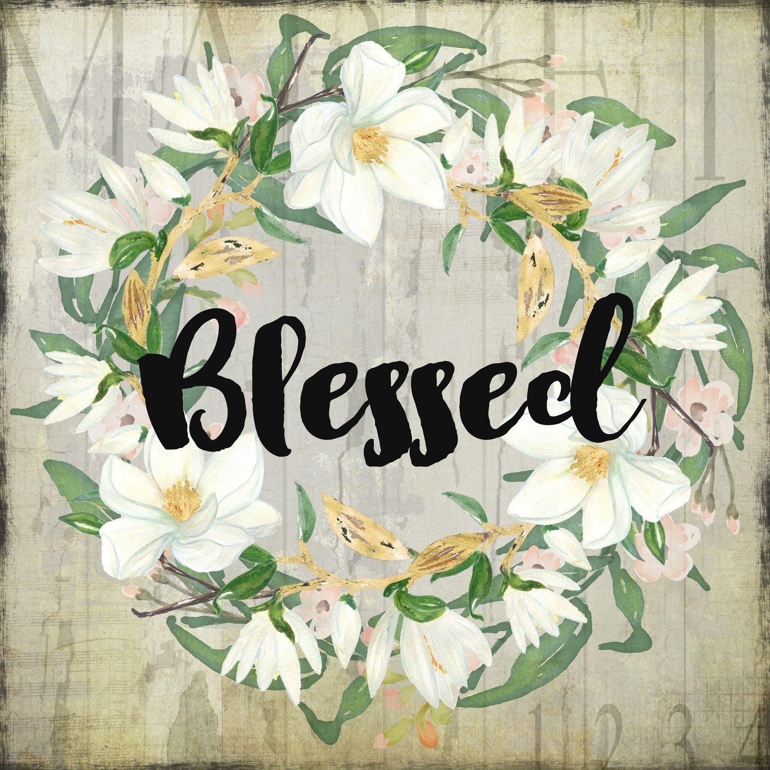"""Blessed"" wreath neutral"