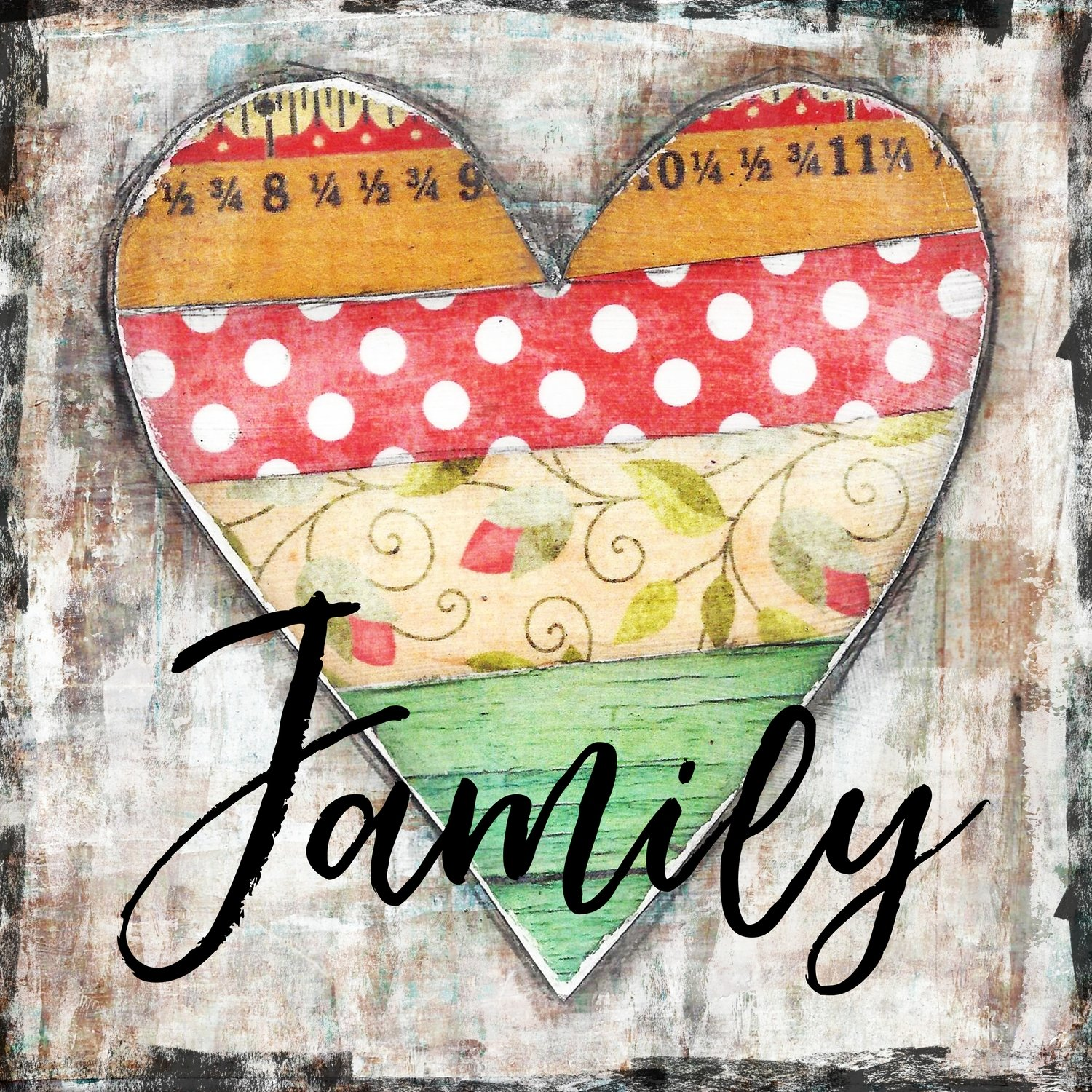 """Family"" vintage bright heart, Print on Wood and Print to be Framed"