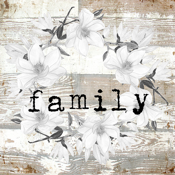 """Family"" white wreath neutral Print on Wood and Print to be Framed"