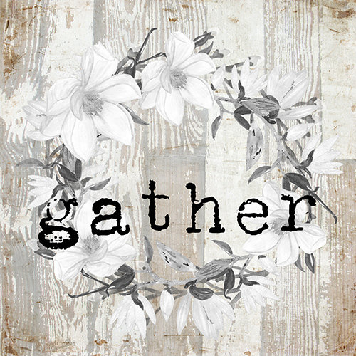 """Gather"" white wreath neutral wood"