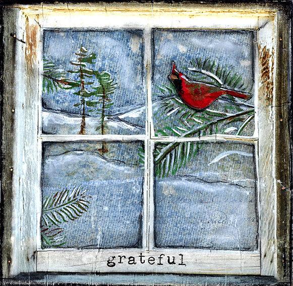 grateful cardinal print of the original on wood