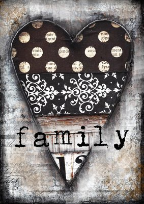 Family black and white heart print on wood