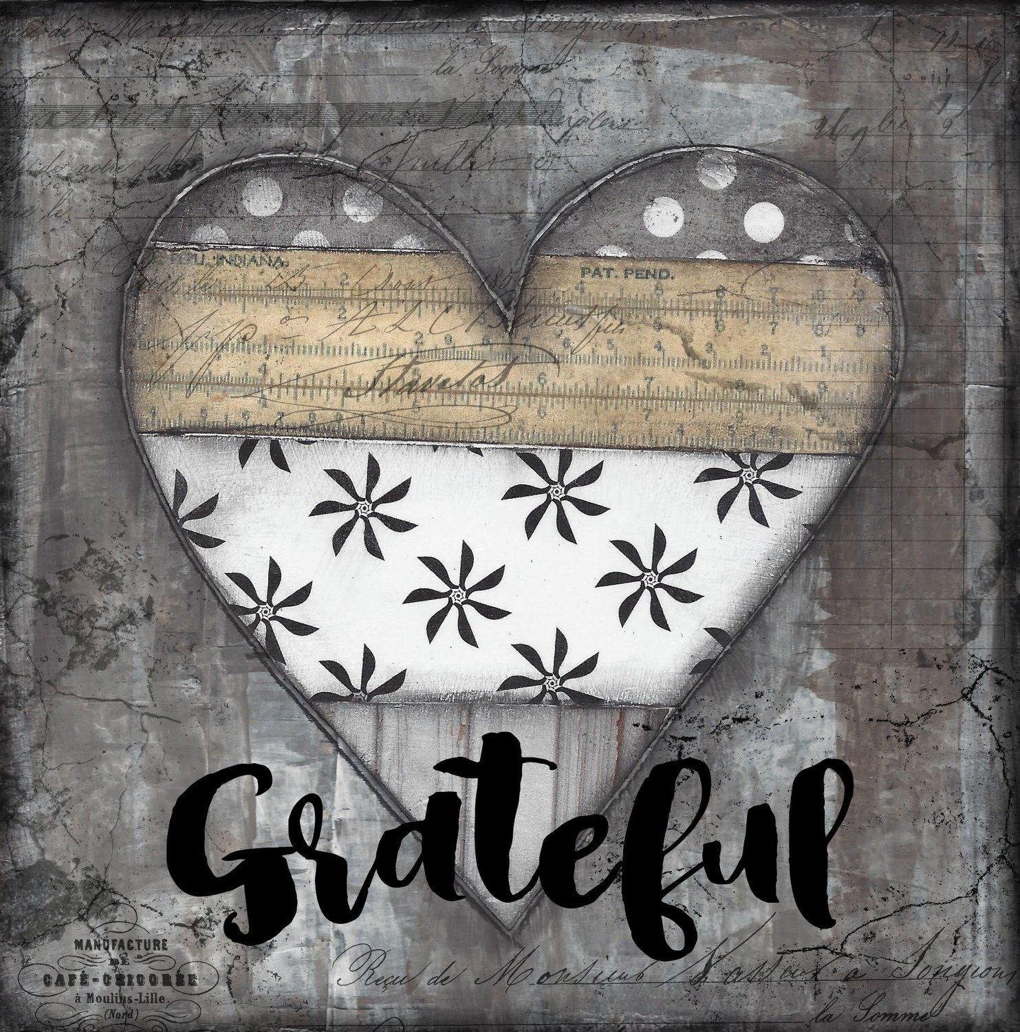 grateful black , white and vintage heart print on wood