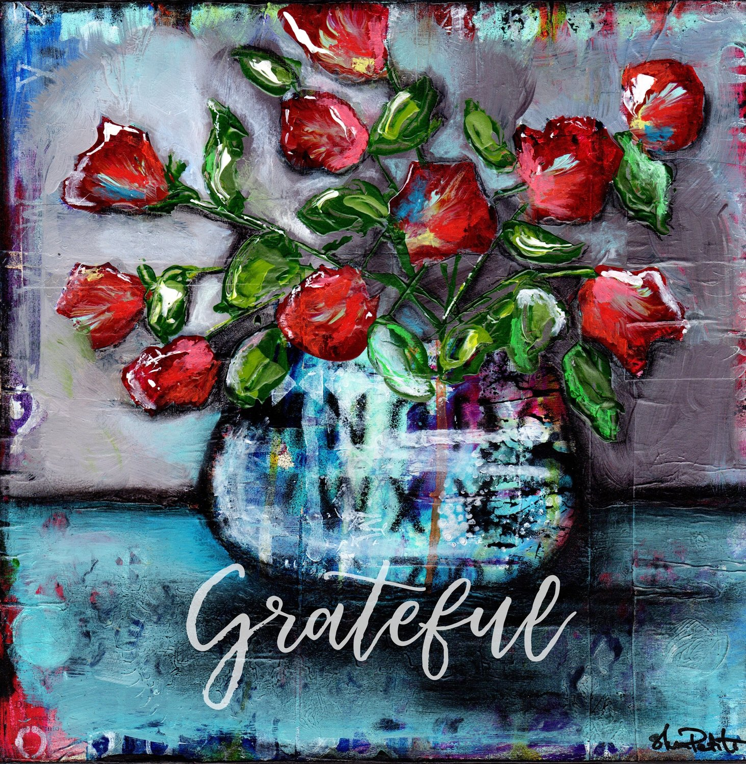 """Grateful"" grungy flower vase"