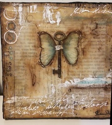 Fly faux encaustic assemblage with rusty key 8x8