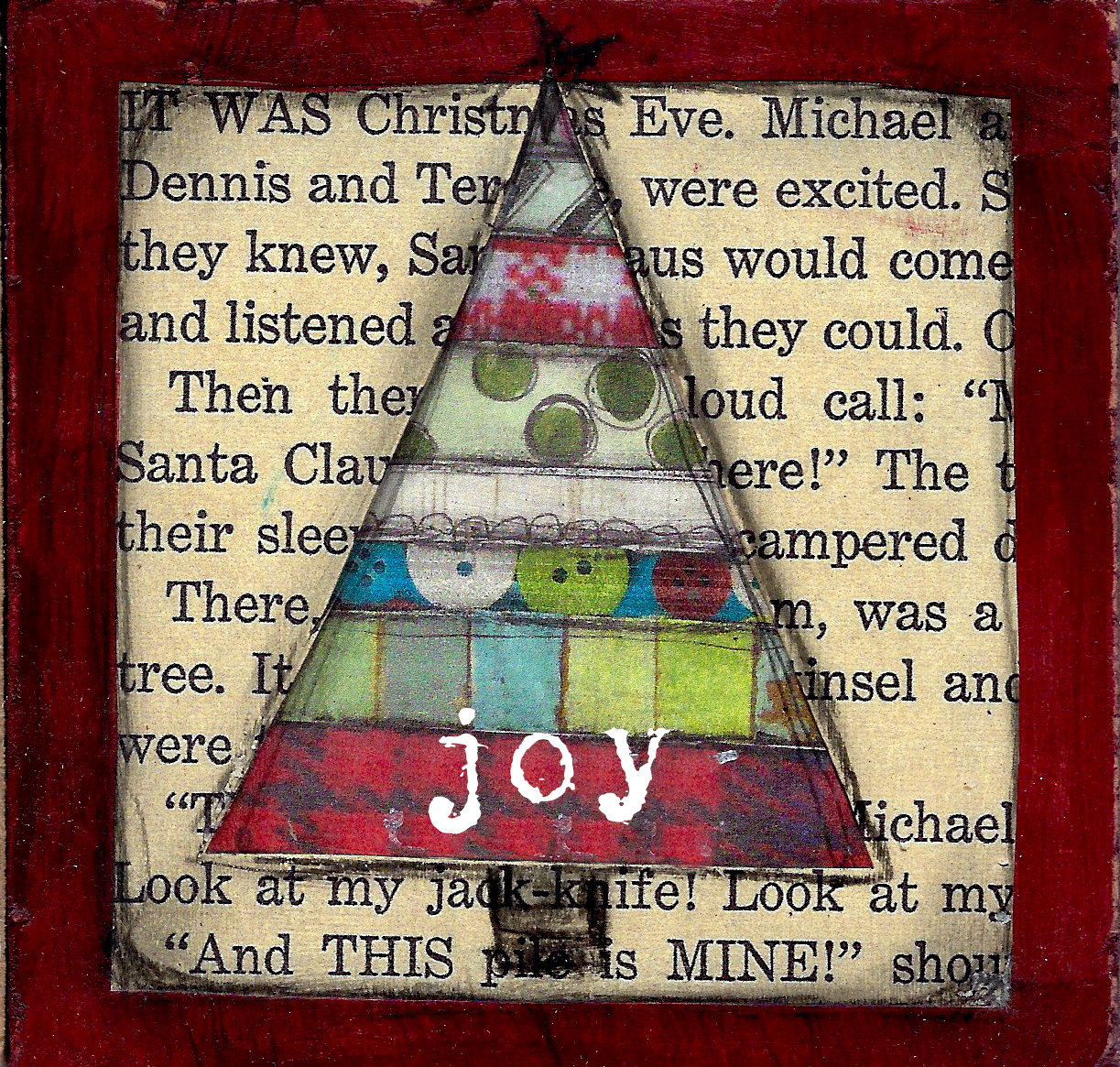 """Joy"" scrappy Christmas Tree"