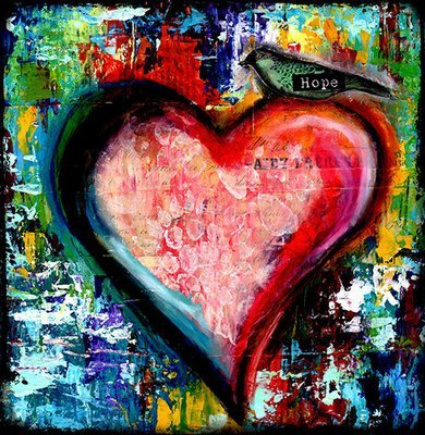 Hope abstract grungy heart print of the original on wood