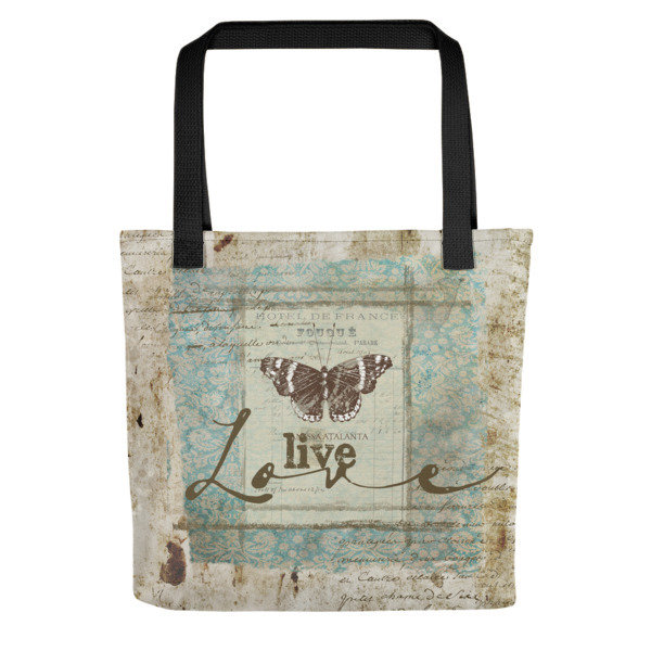 Tote bag Live love vintage butterfly