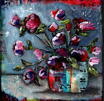 Grungy floral bright number 12x12 original on wood